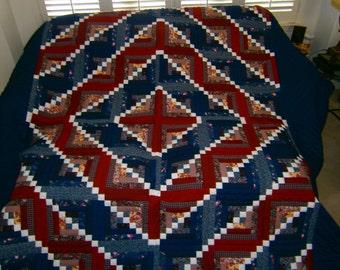 Handstitched, Hand Made, Amish Pattern Log Cabin Quilt