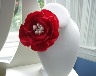SINGLE BLOOM  cherry red fabric flower brooch with freshwater pearl centers - Ready To Ship