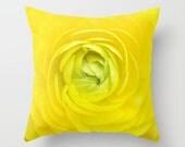 Yellow Ranunculus Pillow Flower Decor Botany Home Decor Yellow Flower Green Center Nature Pillow