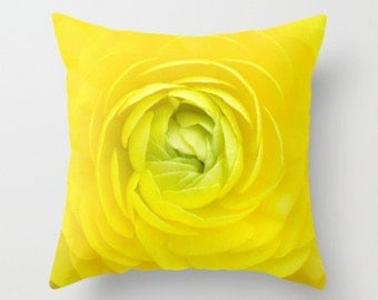 Yellow Ranunculus Pillow Flower Decor Botany Home Decor Yellow Flower Green Center Nature Pillow