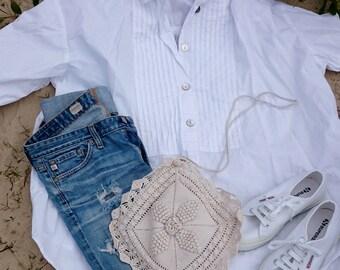 White Cotton Tuxedo Shirt One Size Fits Most