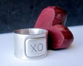 XO Sterling Band - Hug and Kiss Silver Ring - KellyBaldwinDesign