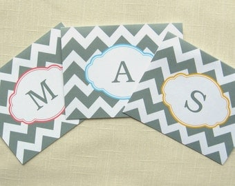 Gray Chevron Note Cards - Set of 8 monogrammed Cards - Choose Colors