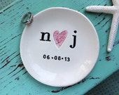 Initials with Heart and Date on Round Ring Dish, Engagement Ring Dish with Initials and Heart, Custom Ring Dish with Heart and Initials
