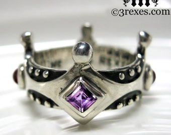 Silver Crown Engagement Ring Brandy Wine Gothic Medieval Amethyst and Garnet Size 7 1/2