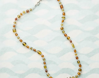 bead jewelry necklace with olive and brown and ocre glass bead necklace