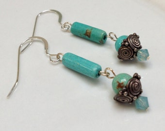 Turquoise and Sterling Silver Dangle Earrings with Swarovski Crystals