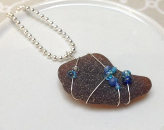 Beaded and Wire Wrapped Brown and Blue Seaglass Pendant - Cape Cod