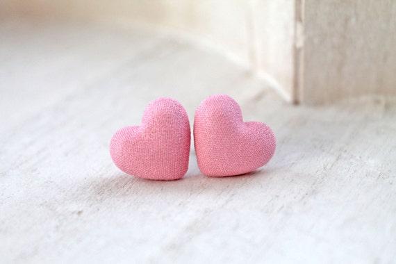 Soft pink fabric Hearts earrings lolita feminine love