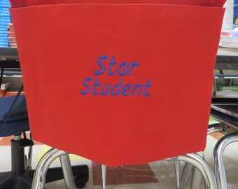 EMBROIDERY OPTiON!!! Add a Name or Phrase to any 1 Chair Pocket you purchase! Embroidery ADD ON! You MUSt Purchase a Chair Pocket too!
