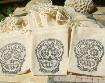 Muslin Favor Bags - Sugar Skull, Wedding, Muslin Bag, Favor Bag, Halloween, Skull, Sugar Skull, Party Favor, Day of the Dead