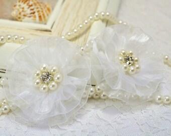 NEW! Handmade Organza flower with rhinestone and pearls--white (FB1023)