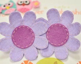 New! Set of 4pcs handmade felt flower--hyacinth/light plum (FT675)