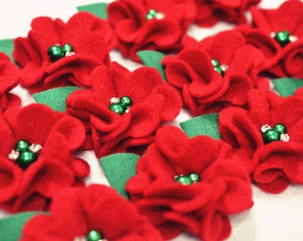 New! Christmas flowers, 4pcs Handmade soft felt flowers--red (FB1049)