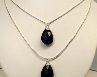 Two Strand Black Teardrop Necklace, Silver Multi Strand Layered Necklace, Faceted Black Teardrop Necklace, Versatile Necklace (N136)