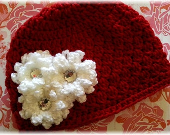 Miss Snowflake-Crochet Red Hat w/ All White Chrochet Flower Cluster Clip-Girls/Toddler Hat-Adult Hat-Holiday/Winter Hat-Photo Prop-Crochet