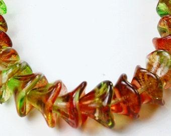 12 Peach/Pear Czech Glass Beads Three Petal Flower