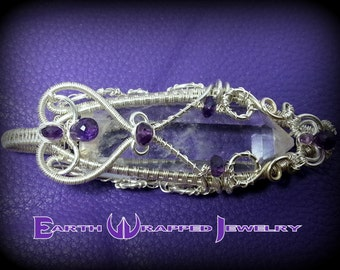 Sterling Silver Healing Quartz Crystal - Amethyst Pendant - Weaved with Fine silver