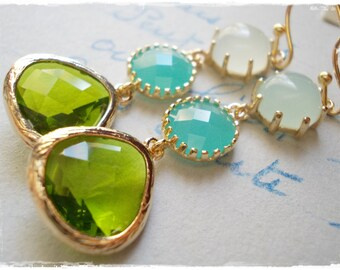Peridot earrings gold mint blue green opal blue long glass drop earrings gold plated framed glass jewel dangle earrings for women girls gift