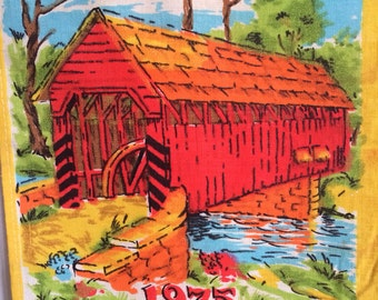 Vintage 1975 Linen Calendar Towel with Covered Bridge Wall Hanging