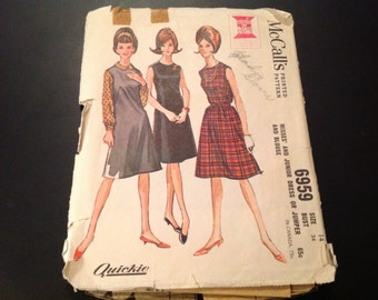Vintage McCall's #6959 Pattern for Misses Size 14 Dress or Jumper and Blouse
