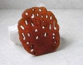 Vintage Carved Jade Pendant- Flower Basket Carved Openwork Gemstone Pendant