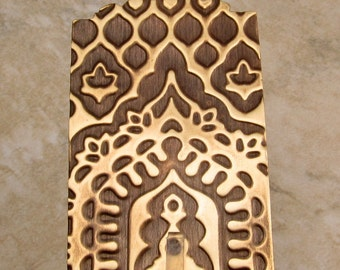 Large Rectangle India Pendant, Embossed Brass, 53 mm, E80