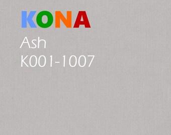 1/2 yard Kona Cotton Ash grey Solid fabric, Robert Kaufman
