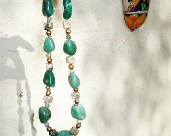 SALE, Aventurine & Ocean Jasper Necklace