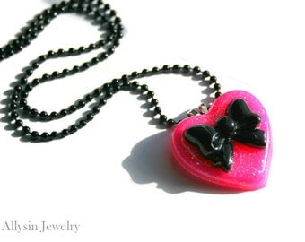 Pink Resin Necklace, Neon Heart Pendant, Black Bow Kawaii Jewelry