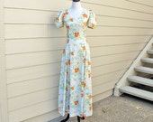 Island Floral Maxi Dress in Lightest Grey