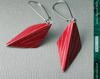 Textured Red Harlequins--Upcycled Tin Earrings