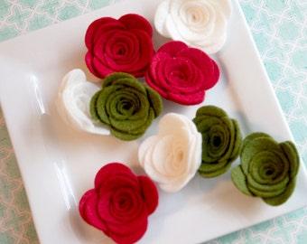 Wool Felt Rose Set of 9 Christmas Roses