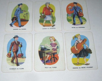 Vintage Tower Press Children's Beat Your Neighbours Playing Cards from England Set of 6