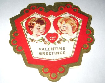 Vintage Fancy Antique Valentine Greeting Card with Little Girl and Boy and Gold Accents