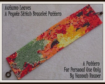Bead Pattern Autumn Fall Leaves Bracelet - Peyote Stitch or Loomwork TUTORIAL INSTRUCTIONS - Hannah Rosner