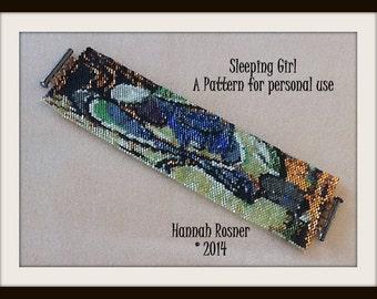 NEW!!!  Bead Pattern Sleeping Girl Bracelet - Peyote Stitch TUTORIAL INSTRUCTIONS - Hannah Rosner