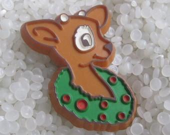 Vintage Hallmark Reindeer   plastic pin