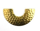 Pendant Crescent Geometric Hammered Raw Brass 2 Holes 46x26mm (2) CP197