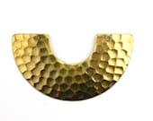 Pendant Crescent Geometric Hammered Raw Brass 2 Holes 46x26mm (2) CP197