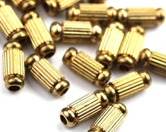 Metal Beads Ribbed Fancy Tube Raw Brass 8x4mm (12) M032