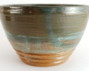 Stoneware Wheel Thrown Pottery Bowl Green Teal Turquoise Blue Brown OOAK