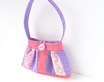 tiny toy purse. pink purple little girl gift idea. handbag. flower girl gifts. cute twin baby girlie first birthday present