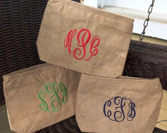 Monogrammed / Personalized Cosmetic Bag Jute