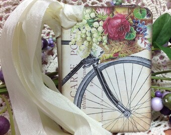 Set of Six Hand Made French Flowers and Bicycle Gift Tags - Invitations - Greeting Cards