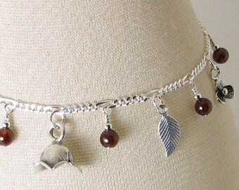 Garnet Garden Sterling Silver Charm Bracelet