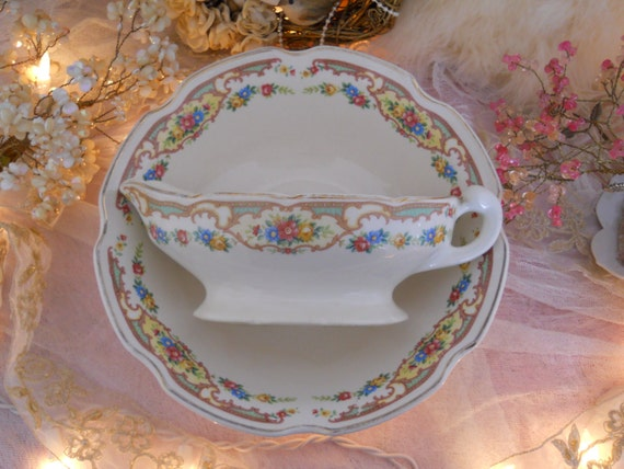 vintage shabby pink roses cottage floral posy serving bowl and sauce boat. mildred pattern kresge, mt. clemens, forget me nots, shabby charm