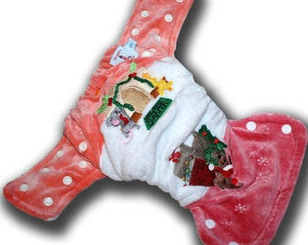 Decking the Halls - Small Organic Bamboo Velour All in Two AI2 Cloth Diaper