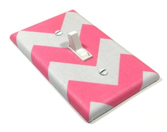 Hot Pink and Gray Chevron Light Switch Cover Switch Plate Modern Home Decor 1425A