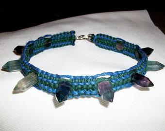 Crystal Geode Hemp Choker - Fluorite Gemstone Crystal Point Geode - Spike Hemp Jewelry